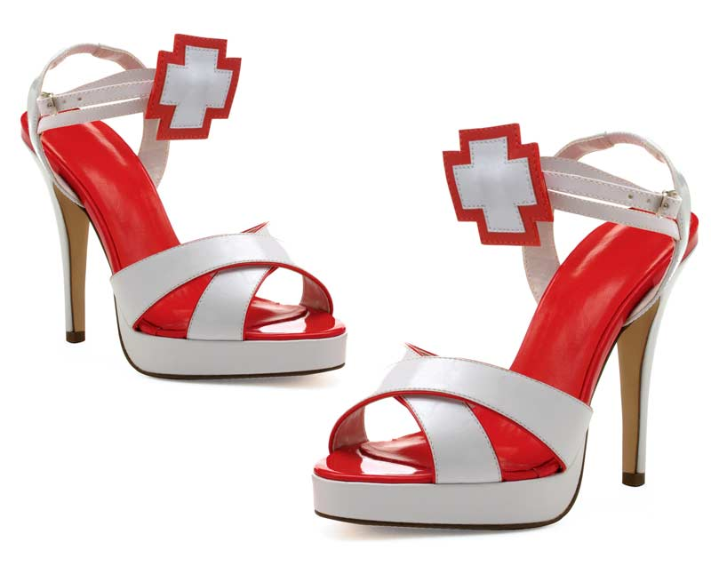 451-FLORENCE - White - 4`` Heel Nurse Open Toe Sandal Cross at Ankle in High Heels and Platforms