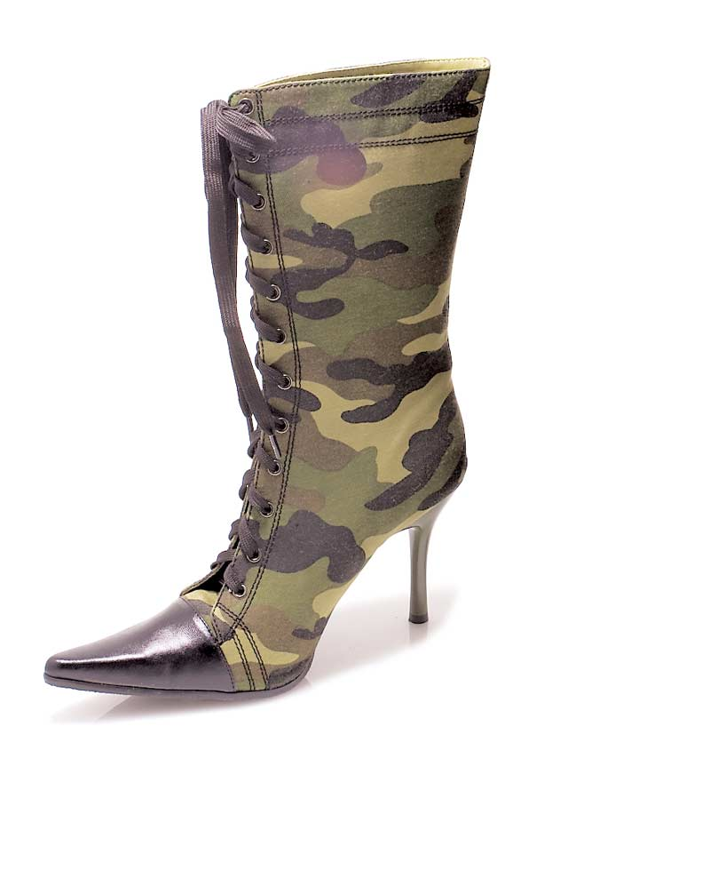 457-CAMO - Green - 4.5`` Heel Knee High Green Camo Boot with Zipper. in Ankle High and Mid Calf Heels and Plaforms