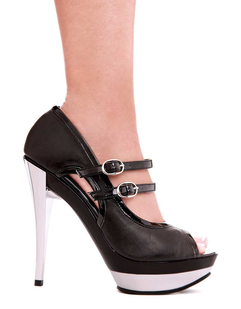 515-Jet - Black - 5`` Chrome Heel With Contrasting Color And Buckle Details in Mid-Platform High Heels