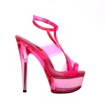 "Glow-111 Neon Fuchsia Patent - 6"" Platform Strappy Sandal With Neon Vinyl Panel Inserts in New Arrivals"
