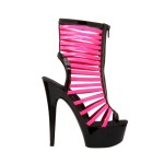 "Glow-131 Neon Fuchsia Patent - 6"" Bootie With Front Zipper And UV Reactive Neon Straps in New Arrivals"