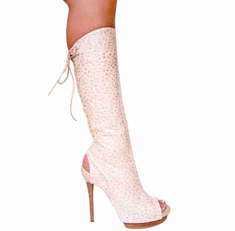 Karo 3286K/H - Beige Croko - Beige Croko in Knee High Boots - Platforms