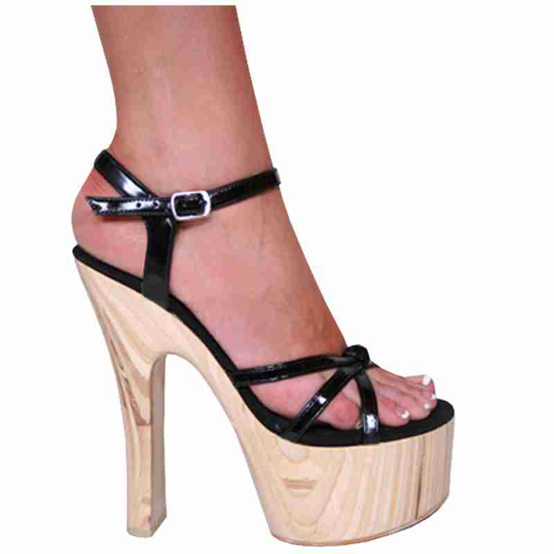 Karo 3291 - Black Leather - Black Leather in Mid-Platform High Heels