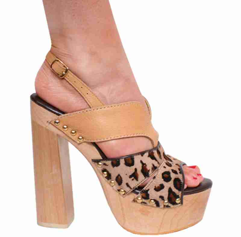 Karo 3329 - Tan Leather & Leopard Pony - Tan Leather & Leopard Pony in Mid-Platform High Heels