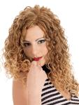Dare - Long layer cut with tight spiral curls all around. Center skin.