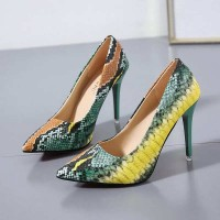 Ladies Party Stiletto Pumps - Green and Yellow Snake