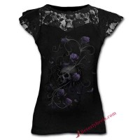 Skull with Purple Roses Lady Tank Top