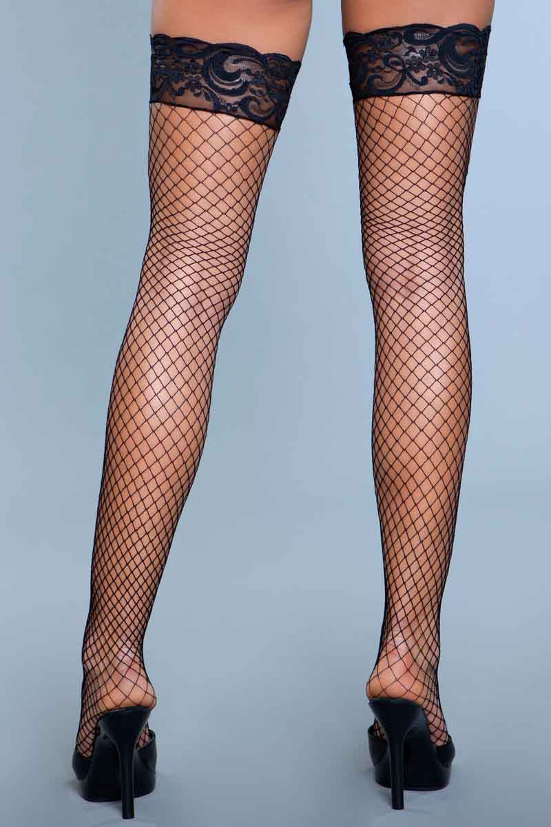 Womens Nude Thigh High Leggings with Lace tops