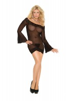 1423Q - Off The Shoulder Mesh Mini Dress Trimmed In Lace With Bell Sleeves