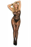 1689Q - Fishnet And Lace Bodystocking With Open Crotch