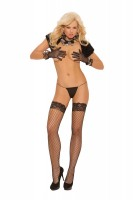 1757Q - Fence Net Thigh High With Stay Up Silicone Lace Top