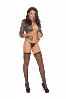 1814q Fishnet Thigh High  With Scroll Top