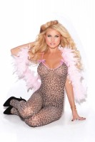 8549 - Bodystocking With Open Crotch And Satin Bows