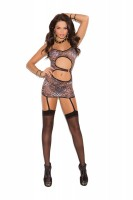 8880 - Mini Dress With O Ring Front Detail And Garters