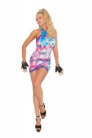8921 - Neon Tie Dye Mini Dress With Pothole Detail