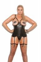 L3131X - Open Bust Leather Corset With Zipper Front, Boning, And Adjustable Stra