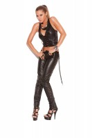 L9119 - Leather Pants With Lace Up Sides