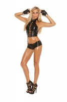 L4273 - Leather Halter Style Top With Lace Up Front And Adjustable Buckle Closur