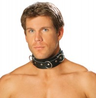 L9066 - Mens Leather Collar With O Rings And Nail Heads