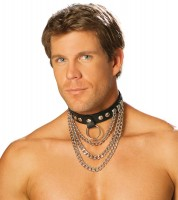 L9149 Leather Collar  With  Chains And