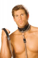 L9151 - Leather Choker With Chain And Detachable Chain Leash