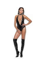 V2271 - Vinyl And Fishnet Halter Neck Teddy With Front Chain Detail