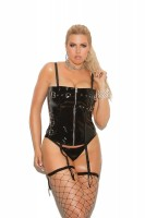 V3145X - Vinyl Zip Front Corset With Buckle Detail, Boning, And Adjustable And D