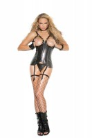 V3151 - Open Bust Vinyl Corset With Zipper Front, Boning, Adjustable Straps And