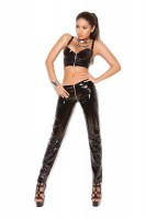 V4121 - Zip Front Vinyl Top With Underwire Cups And Buckle Straps