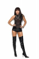 V7138 - Vinyl And Mesh Romper With Chain Front Detail