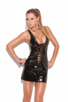 V8116 - Vinyl Mini Dress That Laces Up The Front And Back