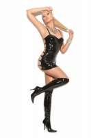 V8129 - Vinyl Mini Dress With Underwire Cups, Halter Neck And Elastic Strap Back