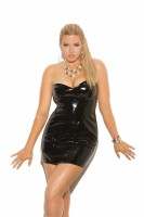 V8427X - Strapless Vinyl Spanking Dress With Adjustable Buckle Closure