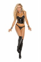 V8904 Vinyl Bustier  And  G-string  With  St
