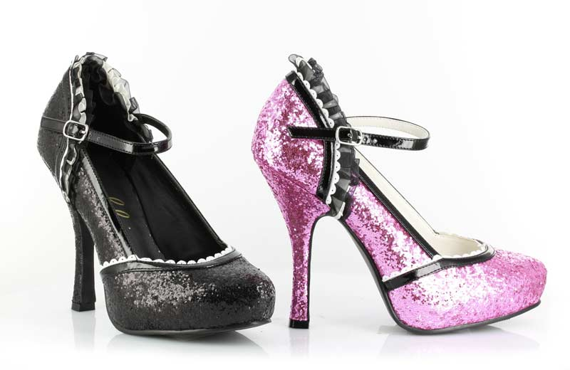 Halloween 453-LACEY - Pink Glitter - 4.5 Inch  Heel Glitter Shoe with Bow Clip in High Heels & Platforms