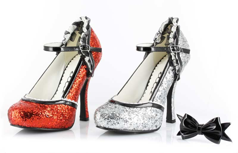 Halloween 453-LACEY - Red Glitter - 4.5 Inch  Heel Glitter Shoe with Bow Clip in High Heels & Platforms