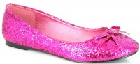 Halloween 016-Mila-G - Fuchsia Glitter - Adult Glitter Flat with Bow. in Shoes & Flats