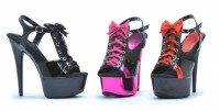 Volume 39  609-Gabby - Black/Fuchsia - 6 Inch  Peeptoe Platform Heel with Lace Up And Bow Detail with Buckle Closure in Heels & Platforms