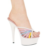 609-HEIDI - White Patent SPECIAL  - 6 Inch  Heel Pointed Stiletto Multi-Color Mule.                   in Specials