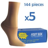 5 Boxes Beige Disposable Foot Sox - Try on Socks - Footies - Peds for Women