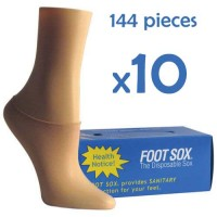 10 Boxes Beige Disposable Foot Sox - Try on Socks - Footies - Peds for Women