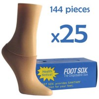 25 Boxes Beige Disposable Foot Sox - Try on Socks - Footies - Peds for Women