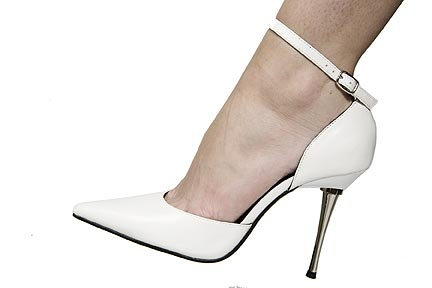 Hollywood Heels Jenn SPECIAL - A 4 1/2 Inch  solid (chrome plated) steel heel accompanies this ultra sexy pointed toe pump with an adjustable ankle strap. in Specials