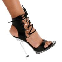 Karo Shoes 454 Black Leather/Clear
