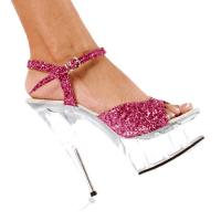 Karo Shoes 0032-G Hot Pink Glitter/Clear