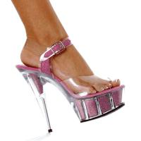 Karo Shoes 0968-6 Clear/Baby Pink Glitter