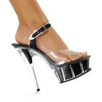 Karo Shoes 0968-6 Clear/Black Glitter
