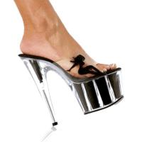 Karo Shoes 0377-7 Clear/Black Glitter