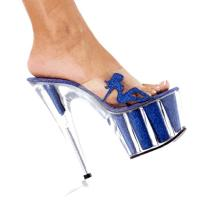 Karo Shoes 0377-7 Clear/Royal Blue Glitter