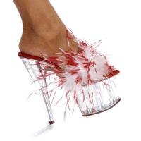 Karo Shoes 521 Red-White Fur/Clear
